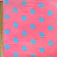 Велсофт двухсторонний розовый в голубые цветочки, ш.220 (23226.001)