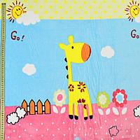 Велсофт двухсторонний голубой, жирафы, цветы, облака, розовая кайма, ш.220 (23226.002)