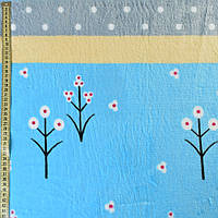 Велсофт двухсторонний голубой светлый, желтые, серые полоски, белые цветы, горох, ш.220 (23226.008)