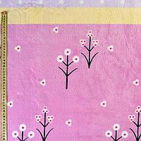 Велсофт двухсторонний сиреневый, желтые, лавандовые полоски, белые цветы, горох, ш.220 (23226.009)