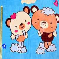 Велсофт двухсторонний голубой, бежевые мишки, щенки, ш.220 (23226.012)
