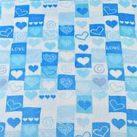 Велсофт двухсторонний бело-голубой в сердца и квадраты ш.186 (23228.001)