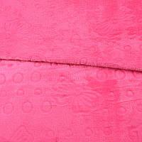 Велсофт двухсторонний с тиснением бабочки розовый яркий, ш.200 ( 23236.001 )