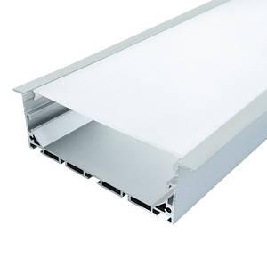 Комплект. Широкий профиль алюминиевый ЛСВ-55 32*55мм анодированный + рассеиватель