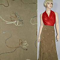Замша искусственная с настроченными цветам коричневая светлая ш.145 (27000.002)
