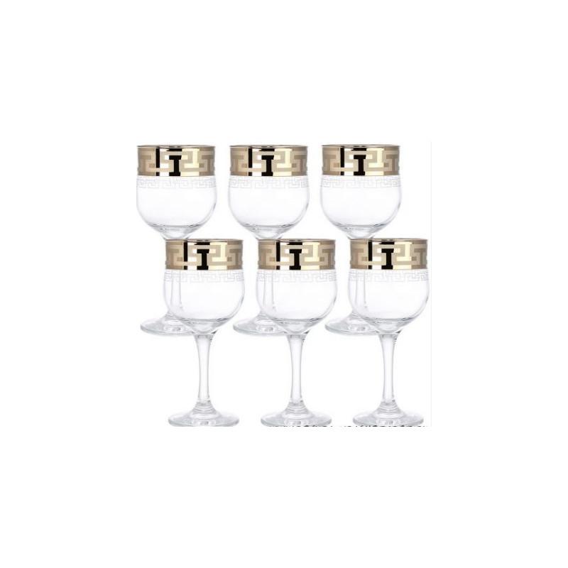 """Набор бокалов для вина """"Тулип"""", с рисунком """"Греческий узор"""", 240мл, 6шт/упак., EAV03-163"""