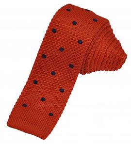 Вязаный галстук оранжевый с синим