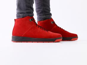 Ботинки мужские замшевые, зимние, на шнурках, красные