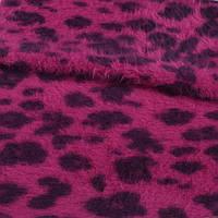 Ангора длинноворсная трикотаж маджента принт леопард ш.120 ( 13405.002 )