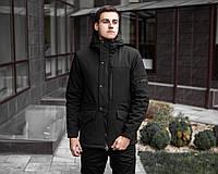 ✅ Мужская зимняя черная куртка Парка Soft Shell Pobedov