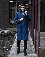 ✅ Мужская зимняя синяя куртка пальто Pobedov Champion