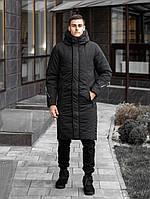 ✅ Мужская зимняя черная длинная куртка Pobedov Tank