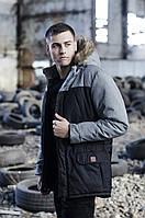 ✅ Мужская зимняя черно серая куртка парка Pobedov Аляска