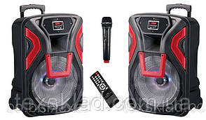 Аккумулятоные колонки TWS-1503 STEREO с микрофоном 400W (FM/USB/Bluetooth)
