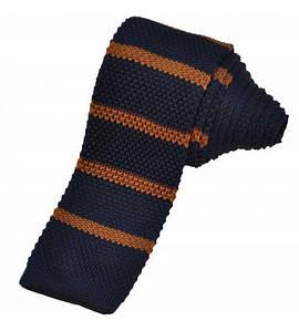 Вязаный галстук синий с коричневым