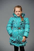 Детская куртка для девочки в горошек Мелани (бирюза)