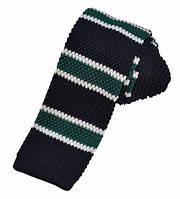 Вязаный галстук черный полосатый