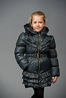 Детская куртка для девочки в горошек Мелани (серый)