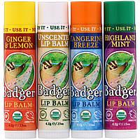 Бальзамы для губ, Badger Company, 4 стика, по 4,2 г каждый