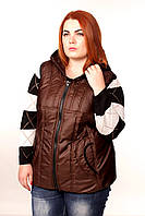 Стильный жилет женский стеганый больгого размера (шоколад), фото 1