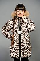 Детская зимняя куртка леопард Алина с мехом (КД-1)