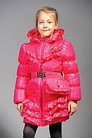Детская куртка для девочки в горошек Мелани (розовая)