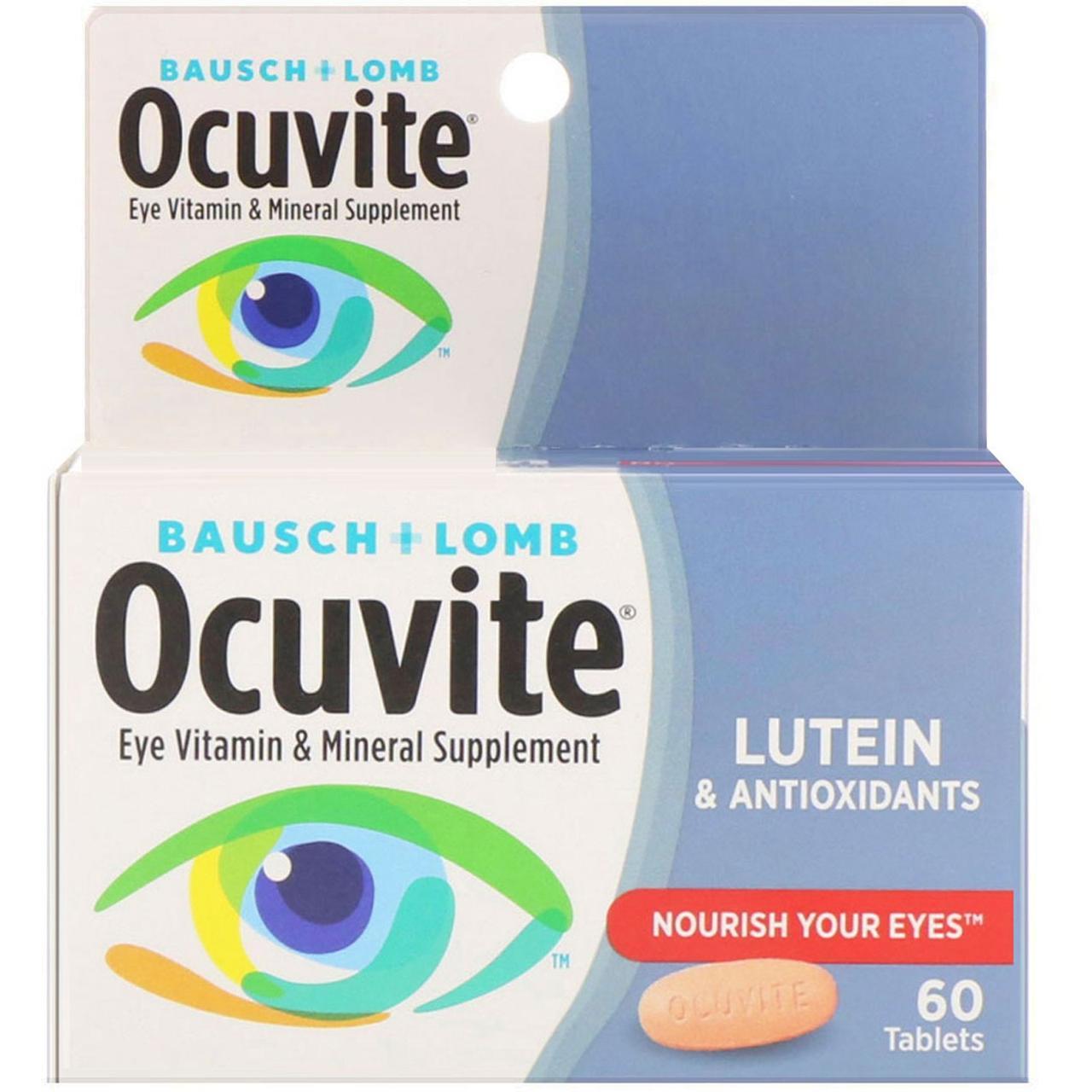 Bausch & Lomb, С лютеином, Витаминная и минеральная добавка для глаз, 60 таблеток