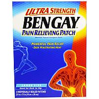 Bengay, Болеутоляющий пластырь Ultra Strength, большой размер, 4 штуки, 3,9 дюйма x 7,9 дюйма (10 см x 20 см)