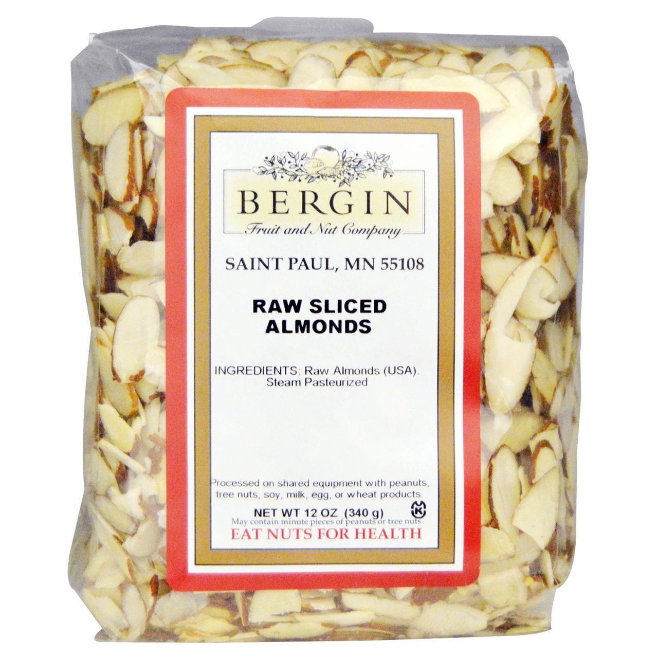 Ломтики сырого миндаля, Raw Sliced Almonds, Bergin Fruit and Nut Company, 340 г