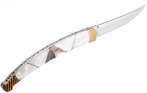 Нож складной  рельефная мраморная рукоять отличный подарок охотнику, рыбаку или туризм