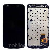 Дисплей (LCD) Motorola XT1032 Moto G XT1033 XT1036 с тачскрином и рамкой, чёрный ориг. к-во