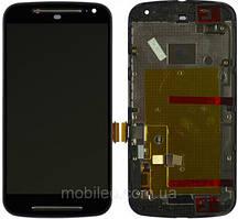 Дисплей (LCD) Motorola XT1062 Moto G2 XT1063 XT1064 XT1068 с тачскрином и рамкой, чёрный