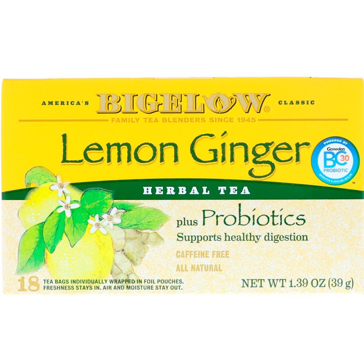 Трав'яний чай з ароматом лимона, Bigelow, 20 пакетів, 39 г