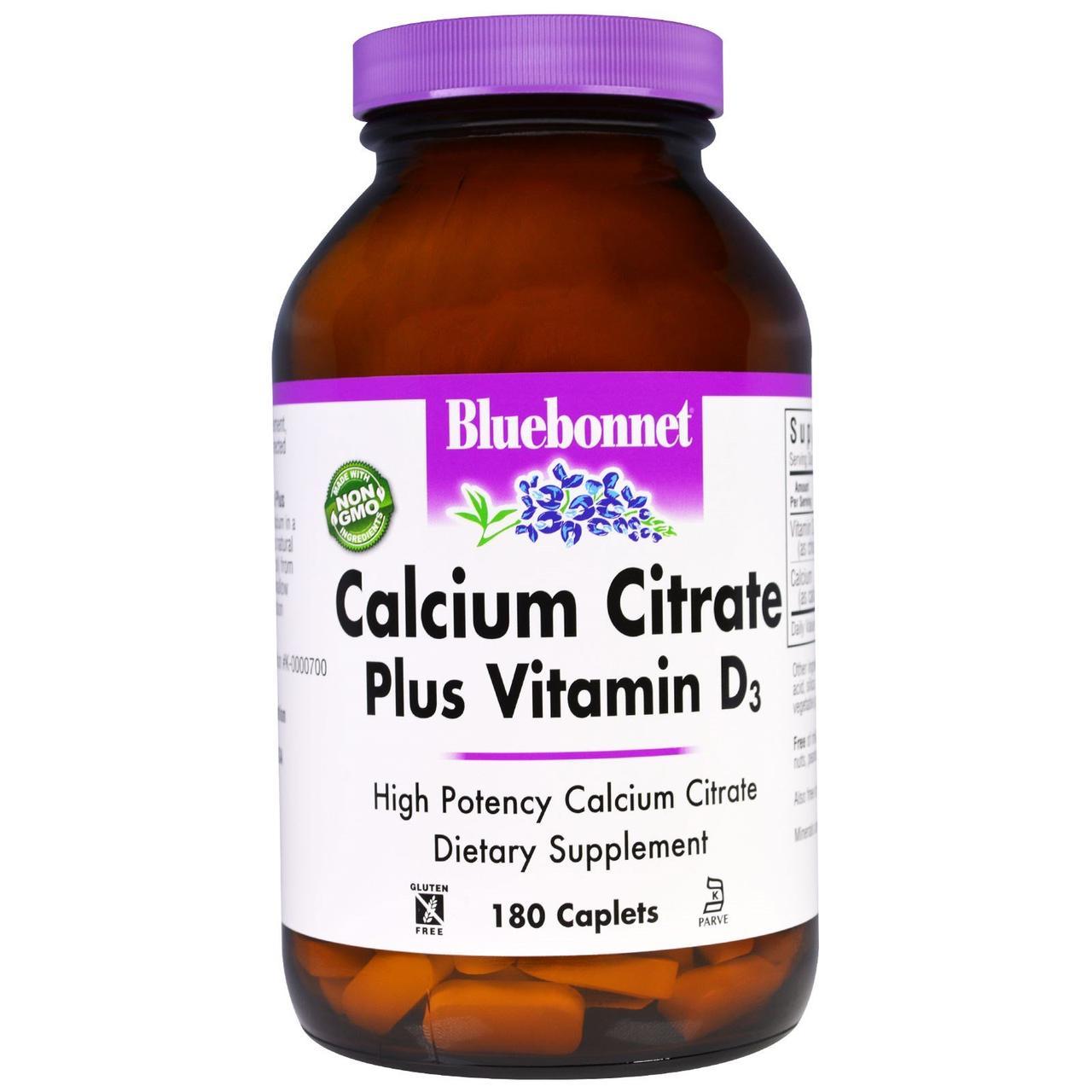 Цитрат кальция + Д3, Bluebonnet Nutrition, 180 кап.