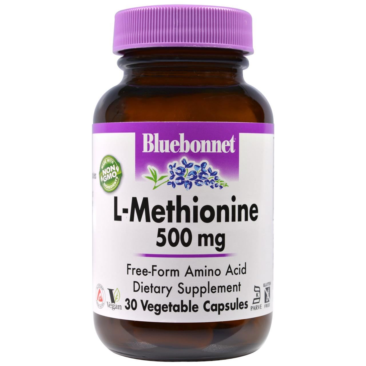 L метионин, Bluebonnet Nutrition, 500 мг, 30 капсул.