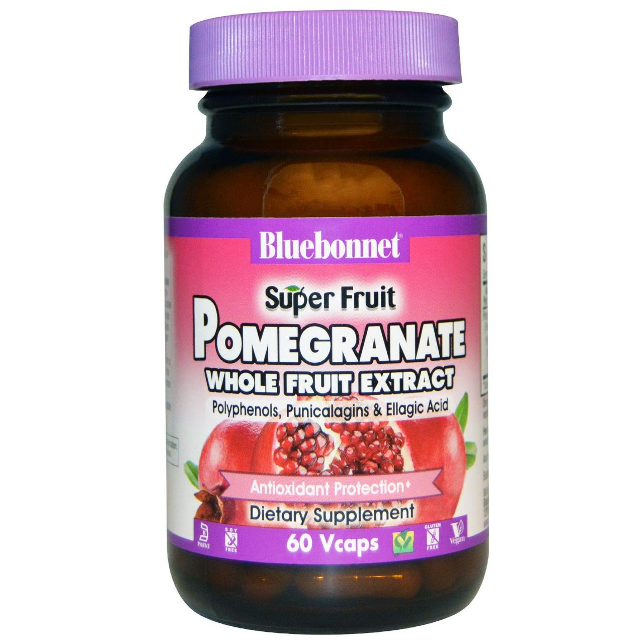 Экстракт плодов граната, Pomegranate Whole Fruit Extract, Bluebonnet Nutrition, 60 кап.