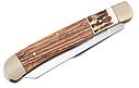 Нож складной, рукоять-рог оленя и дерево,  клинок с односторонней заточкой, многофункциональный, фото 3