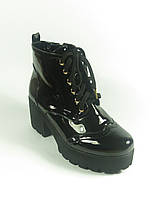 Ботинки женские лаковые на устойчивом каблуке