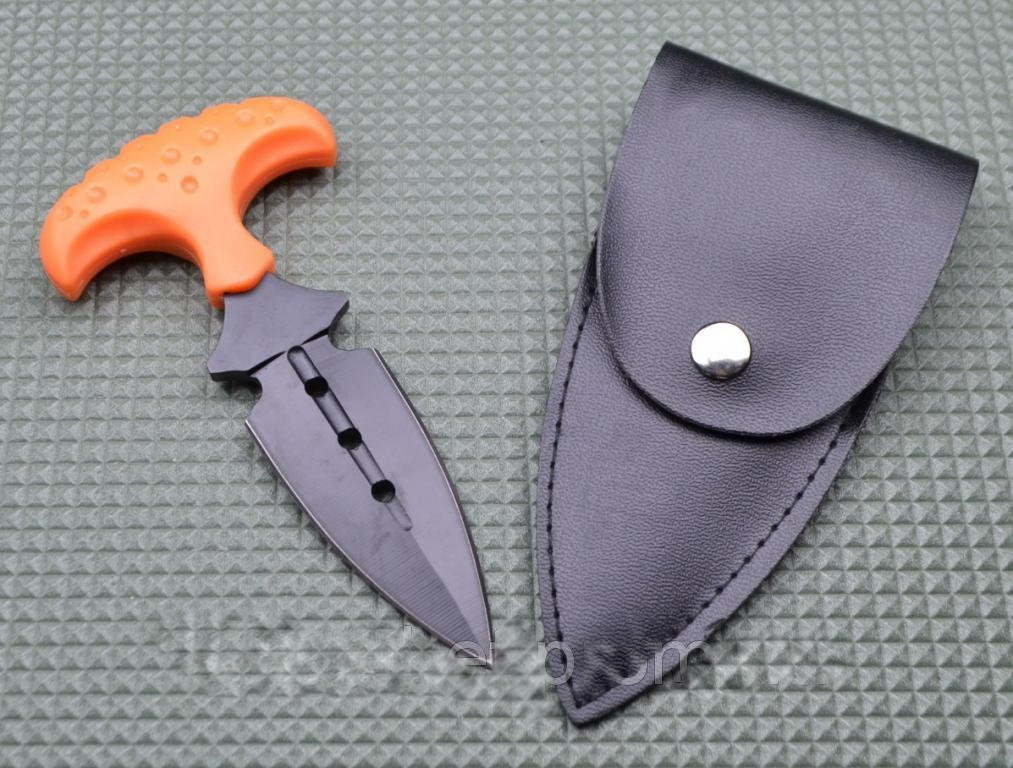 Нож тычок пуш даггер + чехол рукоять оранжевый рифленый пластик, тычковый нож на подарок туристу, охотнику