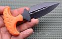 Нож тычок пуш даггер + чехол рукоять оранжевый рифленый пластик, тычковый нож на подарок туристу, охотнику, фото 2