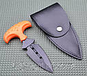 Нож тычок пуш даггер + чехол рукоять оранжевый рифленый пластик, тычковый нож на подарок туристу, охотнику, фото 3