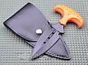 Нож тычок пуш даггер + чехол рукоять оранжевый рифленый пластик, тычковый нож на подарок туристу, охотнику, фото 6