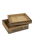Набор декоративных коробок (2шт) Melinera 14х14х3,5х/14х14х2см Бежевый, Черный Поврежден товар - ( 17705-02 )