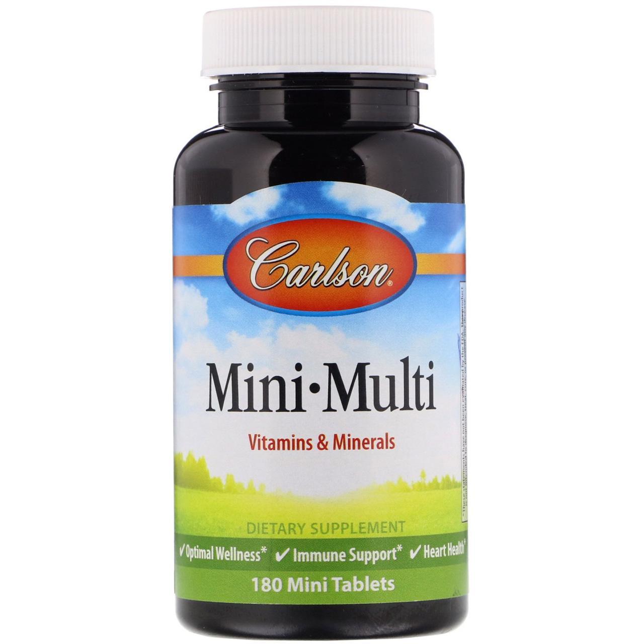 Carlson Labs, Mini-Multi, витамины и минералы, без железа, 180 таблеток
