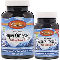 Carlson Labs, Супер Омега·3 Концентрированный рыбий жир, 1200 мг, 130 гелевых капсул