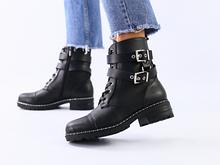 Женские зимние черные кожаные ботинки с ремешками