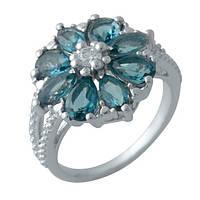 Серебряное кольцо с топазом Лондон Блю (17)