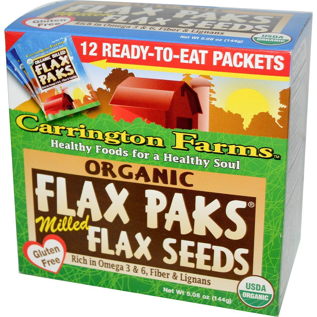 Carrington Farms, Органические льняные пакеты, фрезерованные семена льна, 12 упаковок, 12 г (0,4 унции) каждая