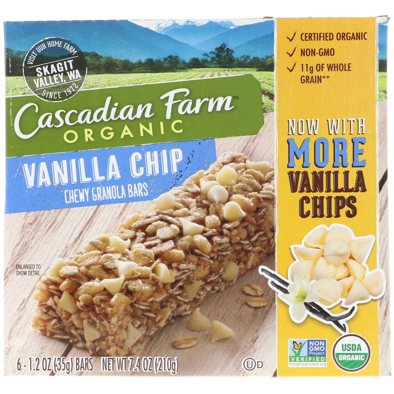 Батончики гранола, ванильный вкус, Cascadian Farm, 6 шт.