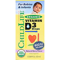 Витамин Д3 для новорожденных D-3 жидкий, 400 МЕ, 10 мл, Natures Answer